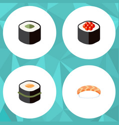 flat icon salmon set of seafood japanese food vector image