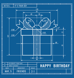 gift box as technical blueprint drawing birthday vector image