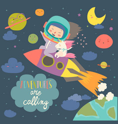 Girl astronaut with her unicorn riding a rocket vector