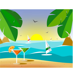 Glasses with martinis on the sand vector