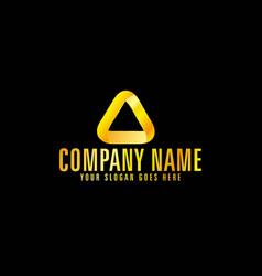 golden color triangle emblem with black background vector image