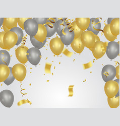Golden party balloons isolated on white background vector