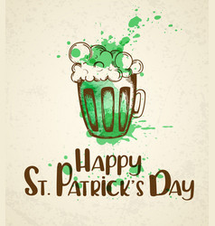 green beer and watercolor blots vector image