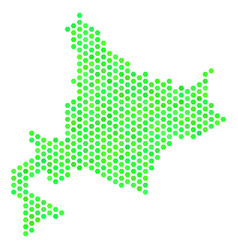 Green hexagonal hokkaido island map vector