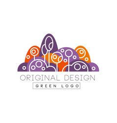 green logo original design forest eco park or vector image