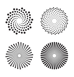 Halftone circles of dots twisted spirals vector