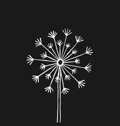 Hand drawn black silhouette dandelion on a white vector