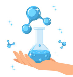 hand holding glass bottle with water vector image