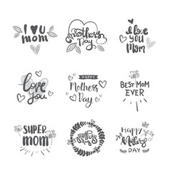 happy mothers day logos set isolated holiday vector image