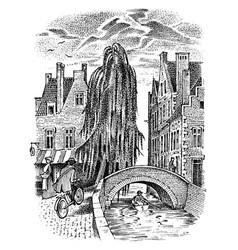 landscape belgian city bruges vector image