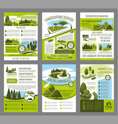 Landscape garden design brochure template vector