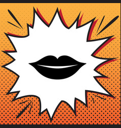 Lips sign comics style icon vector