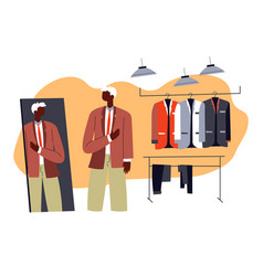man choosing shirt or suit in shop shopping male vector image