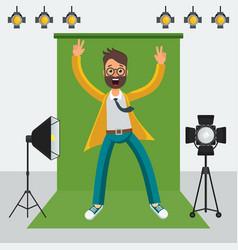 man in photo studio vector image