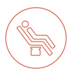Man sitting on dental chair line icon vector image