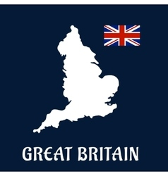 Map of great britain with national flag vector
