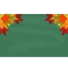 Maple leaves on green chalkboard vector