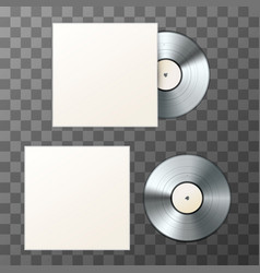 Mockup of blank platinum album vinyl disc with vector