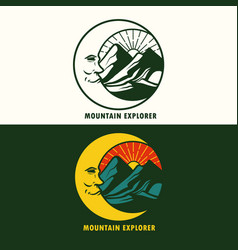 mountain explorer badge logo vector image