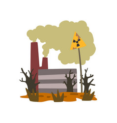 Nature pollution factory danger zone with warning vector