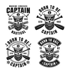 Nautical emblems with captain skull in skipper hat vector