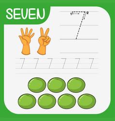Number seven tracing worksheets vector