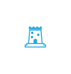 old castle tower with big door in windows vector image