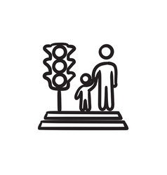 Parent and child crossing the street sketch icon vector