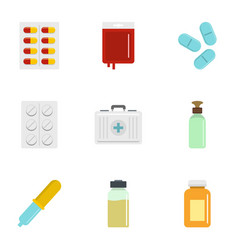 Pharmacy icon set flat style vector