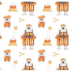 Polar bear christmas story for wrapping paper vector