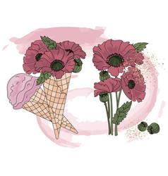 Poppy ice cream cartoon clipart color vector