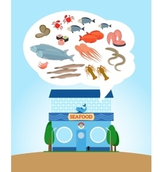 Seafood store vector image