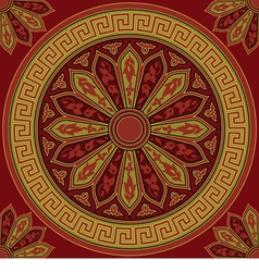 seamless golden round Greek ornament vector image