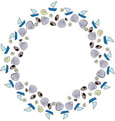 Seamless sea shell repeat pattern wreath vector