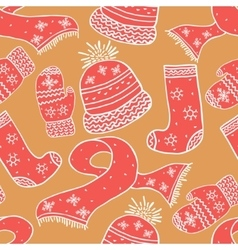 Seamless warm winter pattern Background vector image