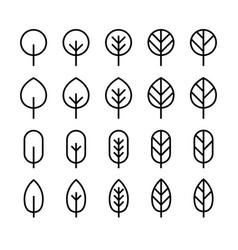 set minimal leaf line icon vector image