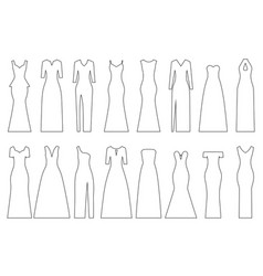 Set of contours of evening dresses vector