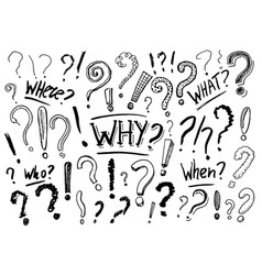 Set of question mark doodle style collection vector