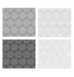 Set seamless spiral line pattern art vector