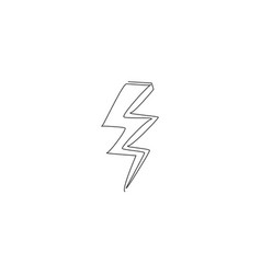 single continuous line drawing thunder bolt vector image