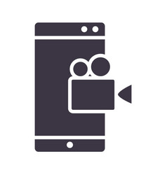 smartphone film video device technology silhouette vector image