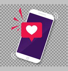 smartphone screen with get message heart emoji vector image