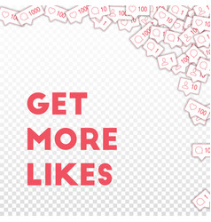 Social media icons get more likes concept vector