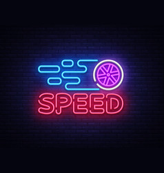 speed night neon logo racing neon sign vector image