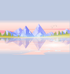 sunrise landscape with lake mountains and trees vector image