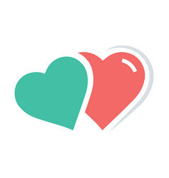 Twins heart icon red and green color vector