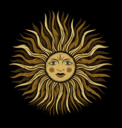 vintage sun with face vector image