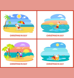 Warm christmas in july with santa holidays vector