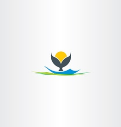 Whale tail island beach logo vector