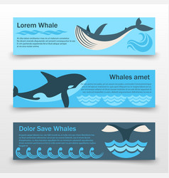 Wild whales banners template vector